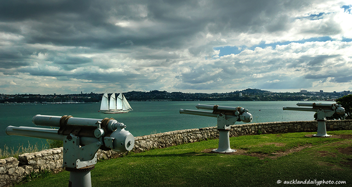 The Sail Ship and the North Head guns