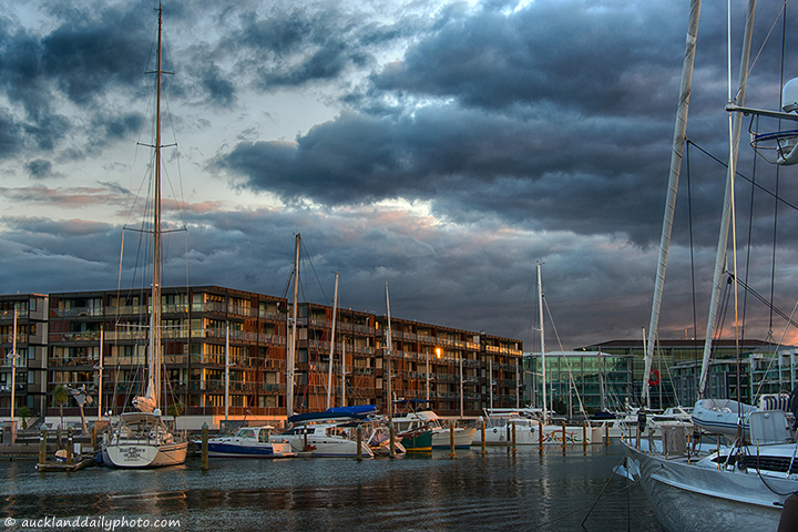 Last sun ray at the Viaduct Harbour