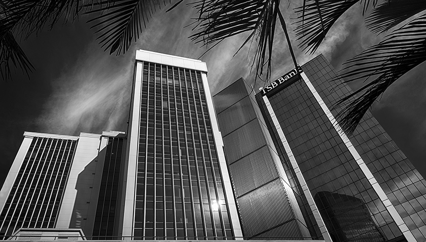 Black & white fine art photography - Queen Street skyline